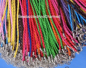 Imitation Leather Braided Cord Necklaces QTY 10