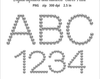 Digital download pearl. Digital alphabet clip art. Letters and numbers silver pearl clipart. Pearl letters. Instant download in PNG format.