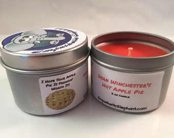 Winchester Candle - Apple Pie Candle - 2 oz Tin Candle - Candle - Fandom Candle - Geek Candle - Dean Candle