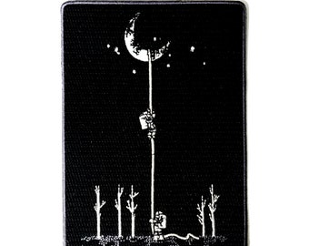Reach For The Moon Astronauts Climbing Rope Into Space - Iron on Embroidered Patch Applique HS P - FM365 - 0081