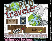World Traveler Clip Art - Commercial Use, Digital Image, Png, Clipart - Instant Download - Vacation, Passport, Airplane, Luggage