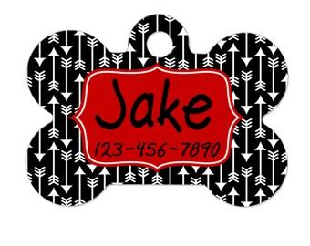 Personalized Dog ID Tag - Custom Dog ID Tag - Arrow Dog ID Tag - Red & Black Dog id Tag