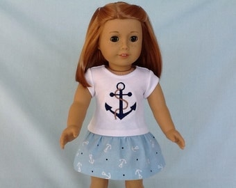 Nautical Anchor T-Shirt and Skirt for American Girl/18 Inch Doll