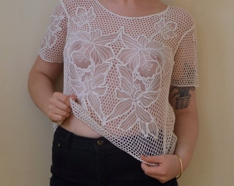 Party girl sheer knitted top- floral detail- M