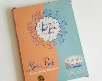 """In The Original Box """"OUR Baby's First Seven Years"""" Record Book 1953"""