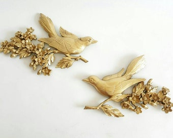 Set of Syroco U.S.A. Gold Birds on Branches