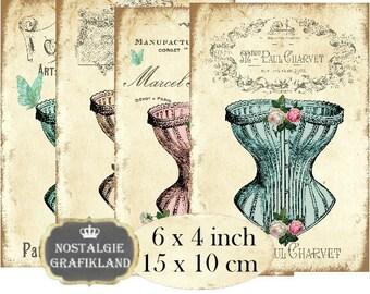 French Corset 6 x 4 inch Instant Download digital collage sheet D128 Vintage Dessous