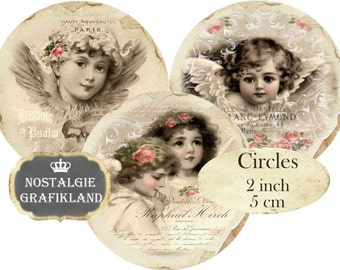 Angels Circles 2 inch Vintage Christmas Instant Download digital collage sheet C229 Christmas Cherubs Cupids Victorian