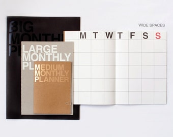 Large Monthly Planner Notebook / Monthly Diary / Kraft Monthly Planner