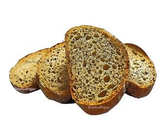 8x10 slices of bread illustration, retro digital image, food illustration, kitchen art, sliced bread, Italian bread, digital bakery
