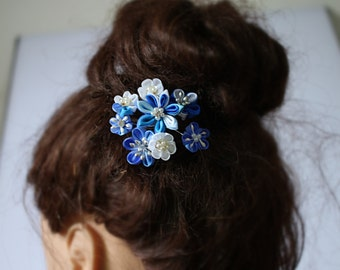 Wedding Hair Flower- hair pins- Blue Wedding- Bridal Hair Flower- Bridal Gift- Blue- Bridalmaids Hair Flower-Z71