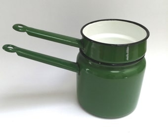 Green Enamel Double Boiler Made in Poland - Green Enamelware Pots