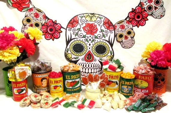 halloween decorations candle votives el pato mexican tin cans set of 6 small can dia de los muertos wedding decorations make unique candle