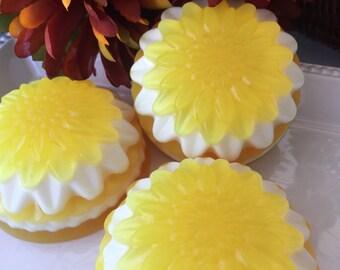 Large Flower Soap - Sunny Herb Garden Soap - Lemon Verbena Soap - Summer Saop - Fall Soap - Glycerin Soap