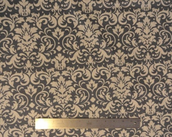 White/Gray Damask Fabric