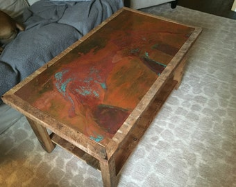 Copper and reclaimed wood coffee table