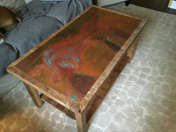 Copper and reclaimed wood coffee table for Table y copper