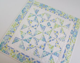Quilted Square Table Topper - Modern Blue and Cream blooms add spring colors to your kitchen