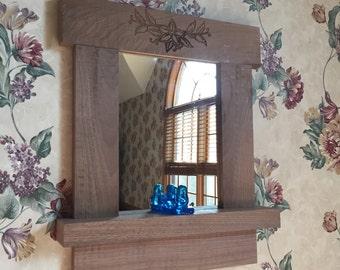 Walnut Framed Mirror with Shelf