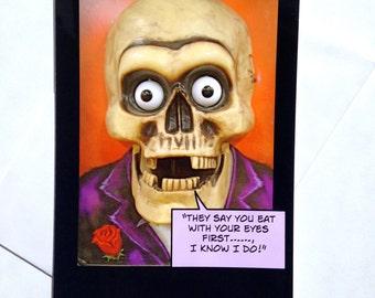 Funny Halloween Card - Chef's Halloween Card - Halloween Card for Cooks - Funny Skeleton Halloween Card