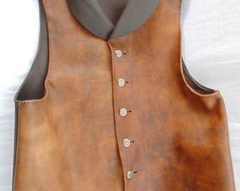 Victorian Steampunk Leather Vest Waistcoat
