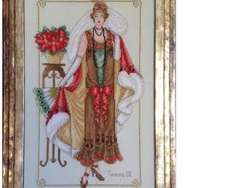 Downton Glamour- Belle Epoque Flapper Downton Abbey PDF Counted Cross Stitch Chart Pattern Instant Download