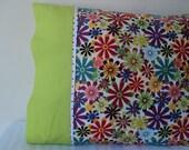 Retro Flowers & Lime Standard Pillow Case