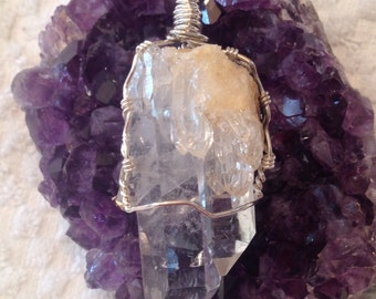 Sterling Silver Natural Crystal Quartz Cluster Pendant