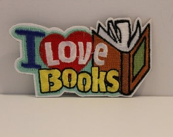 I Love Books Patch - reading booklover bookworm reader