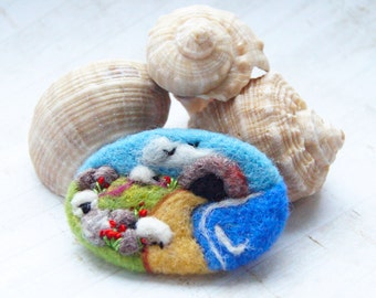 Beach Brooch, Needle felted brooch, pin, wool, sheep jewelry, summer, Fibre art, landscape art IWANTCRAFT