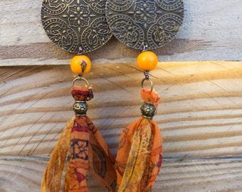 """Ethnic earrings silk """"Anandi"""""""