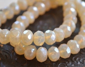 10 Beige Opalite Faceted Rondelle 8x6mm- Czech Glass Beads- Moonlight (664-10)