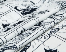 Pure cotton fabric, Astro Boy, Animation, Cartoon style, white, navy, sew for top, shirt, blouse, skirt, dress, craft by the yard