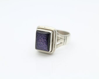Well-Made Square Ring with Purple Dichroic Glass in Sterling Silver Size 6.5. [8783]