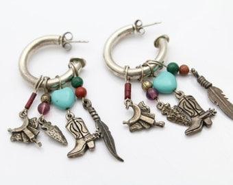 Southwestern Open Hoop Earrings With Dangles in Sterling Silver. [9235]