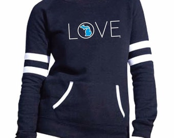 Love Michigan Womens Varsity Fleece Crew Sweatshirt