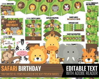 Safari party package, to decor your safari birthday party - Printable and Editable PDF files.