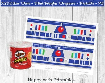R2D2 Star Wars Mini Pringles wrappers - R2D2 wrappers - Mini Pringles wrappers R2D2 - Star Wars The Force Awakens - R2D2 favor printable