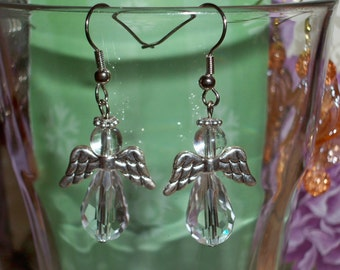 Angel Earrings in Clear and Silver