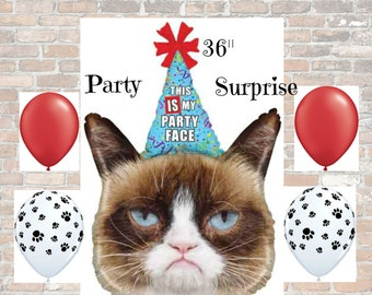 "Grumpy Cat Huge 36"" Balloon, This is my Party Face Grumpy Cat Party Balloon, Cat Party Balloons"