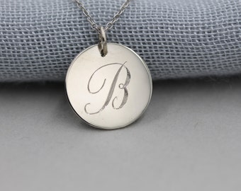 LARGE 14k solid gold 14.5mm personalized necklace largest size initial necklace custom necklace
