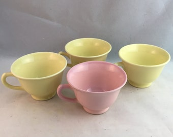 Vintage T S & T Lu-Ray Pastels Cups, 4 Pieces