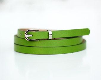 Free shipping! Woman Leather belt, green belt, bow belt, green leather belt, green dress belt, skinny belt, waist belt, light green belt