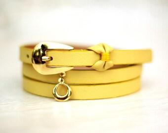 Free shipping! Leather belt, yellow belt, womens leather belt, yellow leather belt, bow belt, yellow woman belt, skinny belt