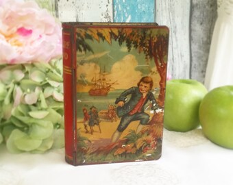 Antique Treasure Island Book Tin Litho bank lock box, Chad Valley, Toy Savings change, Red Yellow, piggy bank, décor, collectable