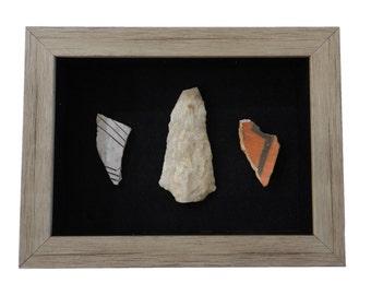 Authentic Anasazi Pottery & Arrowhead Display (NA-APAH-SB A006)