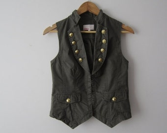 ON SALE Womens Khaki Green Vest Fitted Marching Band Vest Extra Small to Small Military Style Waistcoat