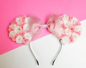 Pink and White Rose Flowers Disney Minnie Mouse (Mickey Mouse) Ears with Pink Sparkly Tulle Bow