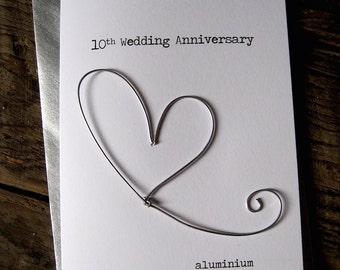 10th Wedding Anniversary Designer Keepsake Card ALUMINIUM Wire Heart 10 Years Traditional Gift. Husband Wife Understated Size A6: 15x10.5cm