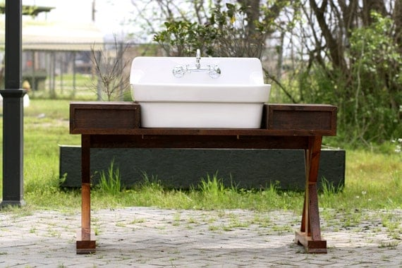 New High Back Porcelain Farm Sink Reclaimed Wood by readytore
